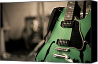Electric Guitar Canvas Prints - Green Electric Guitar With Blurry Background Canvas Print by Sean Molin - www.seanmolin.com