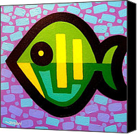 Psychedelic Canvas Prints - Green Fish Canvas Print by John  Nolan