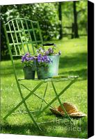 Invitation Canvas Prints - Green garden chair Canvas Print by Sandra Cunningham