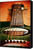 Gibson Guitar Canvas Prints - Green Gibson Canvas Print by Angelina Vick