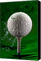 Ball Canvas Prints - Green Golf Ball Splash Canvas Print by Steve Gadomski
