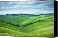 Tuscany Canvas Prints - Green Hills With Cloudy Sky Canvas Print by Thierry Hennet