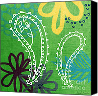 Wild-flower Mixed Media Canvas Prints - Green Paisley Garden Canvas Print by Linda Woods