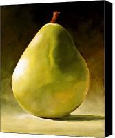 Still-life Canvas Prints - Green Pear Canvas Print by Toni Grote