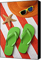 Vacations Canvas Prints - Green Sandals On Beach Towel Canvas Print by Garry Gay