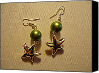 Glitter Earrings Jewelry Canvas Prints - Green Starfish Earrings Canvas Print by Jenna Green