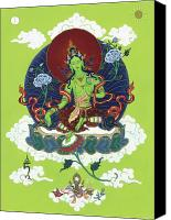 Tibetan Buddhism Painting Canvas Prints - Green Tara Canvas Print by Carmen Mensink