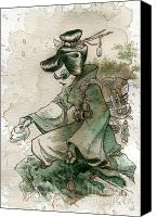 Women Canvas Prints - Green Tea Canvas Print by Brian Kesinger