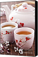 Ceremony Canvas Prints - Green tea set Canvas Print by Elena Elisseeva