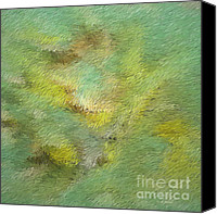 Impressionistic Art Canvas Prints - Green Tone Abstract Canvas Print by Deborah Benoit