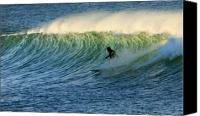 Surf Lifestyle Canvas Prints - Green Wall Surfer Canvas Print by Mike Coverdale