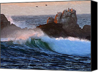 Landscapes Pastels Canvas Prints - Green Waves Pastel Canvas Print by Stefan Kuhn