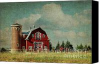 Photomanipulation Canvas Prints - Greenbluff Barn Canvas Print by Reflective Moments  Photography and Digital Art Images