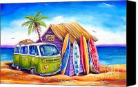 Campervan Canvas Prints - Greenie Canvas Print by Deb Broughton