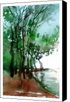 Anil Nene Canvas Prints - Greens Canvas Print by Anil Nene