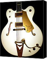 Music Photo Canvas Prints - Gretsch White Falcon Canvas Print by Lourry Legarde