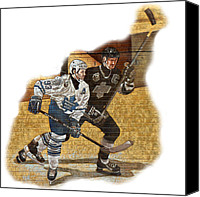 Maple Leafs Canvas Prints - Gretzky and Gilmour Canvas Print by Andrew Fare