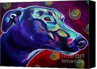 Rainbow Tapestries Textiles Canvas Prints - Greyhound -  Canvas Print by Alicia VanNoy Call