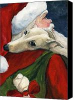 Claus Canvas Prints - Greyhound and Santa Canvas Print by Charlotte Yealey
