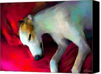 Greyhound Canvas Prints - Greyhound Dog portrait  Canvas Print by Svetlana Novikova