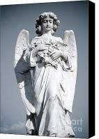 Clouds Sculpture Canvas Prints - Grieving Angel on the old graveyard Canvas Print by Yurix Sardinelly