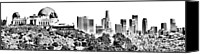 Etch Canvas Prints - Griffith And Los Angeles Etched Canvas Print by Ricky Barnard