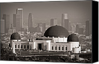 Skylines Canvas Prints - Griffith Observatory Canvas Print by Adam Romanowicz