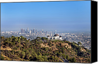 Downtown Los Angeles Canvas Prints - Griffith Park Observatory And Downtown Los Angeles Canvas Print by Mark Harris