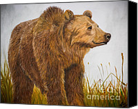 Kodiak Canvas Prints - Grizzly Bear Canvas Print by Mindee Green