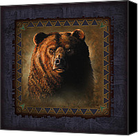 Tribal Art Painting Canvas Prints - Grizzly Lodge Canvas Print by JQ Licensing