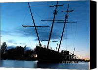 Ship Wreck Canvas Prints - Grounded Tall Ship Silhouette Canvas Print by Oleksiy Maksymenko