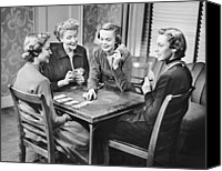 Group Of Women Canvas Prints - Group Of Women Playing Cards Canvas Print by George Marks