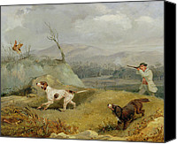Dogs Canvas Prints - Grouse Shooting  Canvas Print by Henry Thomas Alken