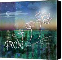 Lotus Pond Canvas Prints - Grow Canvas Print by Evie Cook