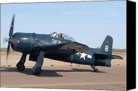 Casa Grande. Canvas Prints - Grumman F8F-1 Bearcat NL9G Casa Grande Airport Arizona March 5 2011 Canvas Print by Brian Lockett