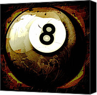 Billiard Digital Art Canvas Prints - Grunge Style 8 Ball Canvas Print by David G Paul