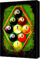 Billiard Digital Art Canvas Prints - Grunge Style 9 Ball Rack Canvas Print by David G Paul