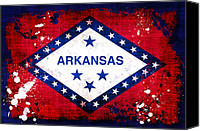 Arkansas Canvas Prints - Grunge Style Arkansas Flag Canvas Print by David G Paul