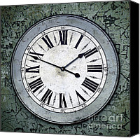 Burnt Canvas Prints - Grungy Clock Canvas Print by Carlos Caetano