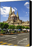 Public Square Canvas Prints - Guadalajara Cathedral Canvas Print by Elena Elisseeva