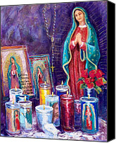 Prayer Pastels Canvas Prints - Guadalupe y Las Velas candles Canvas Print by Candy Mayer