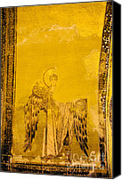 Byzantine Icon Canvas Prints - Guardian Angel Byzantine Art Canvas Print by Artur Bogacki