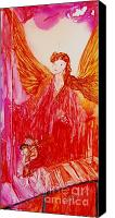 Angel Blues  Painting Canvas Prints - Guardian Angel Canvas Print by Joyce Auteri