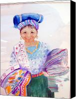 Vendor Painting Canvas Prints - Guatemalan vendor Canvas Print by Sandi Stonebraker