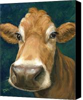 Cow Canvas Prints - Guernsey Cow on Teal Canvas Print by Dottie Dracos