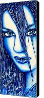 Songwritter Mixed Media Canvas Prints - Guess U Like Me in Blue Canvas Print by Joseph Lawrence Vasile