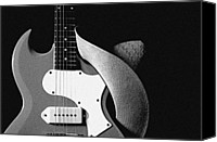 Combo Canvas Prints - Guitar Hat Isolated on Black Canvas Print by M K  Miller