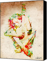 Layered Canvas Prints - Guitar Lovers Embrace Canvas Print by Nikki Marie Smith