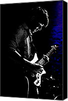 Electric Guitar Canvas Prints - Guitar Man In Blue Canvas Print by Meirion Matthias