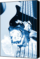 Combo Canvas Prints - Guitar Rose Blue Tint Canvas Print by M K  Miller